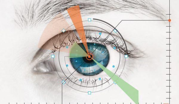 Scanner on blue human eye