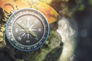 Travel background, compass on ground with leaf in nature with sunlight.